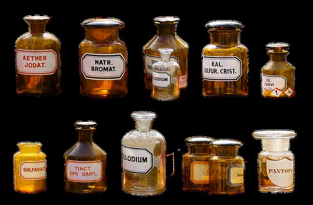 lahvičky léčiv